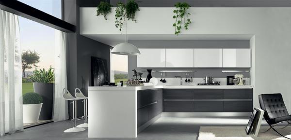 Cocinas blancas lacadas for Cocina y bano juntos